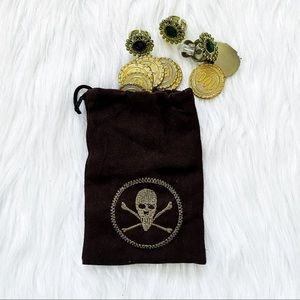 🔴4/$25 forum novelties halloween pirate pouch with coins and jewelry